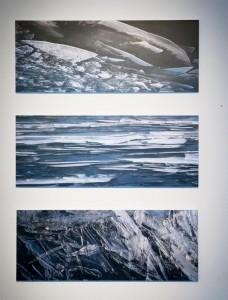 Das Kunstwerk von Ingrid Horst bestehend aus drei Fotografien: Die EISwelten